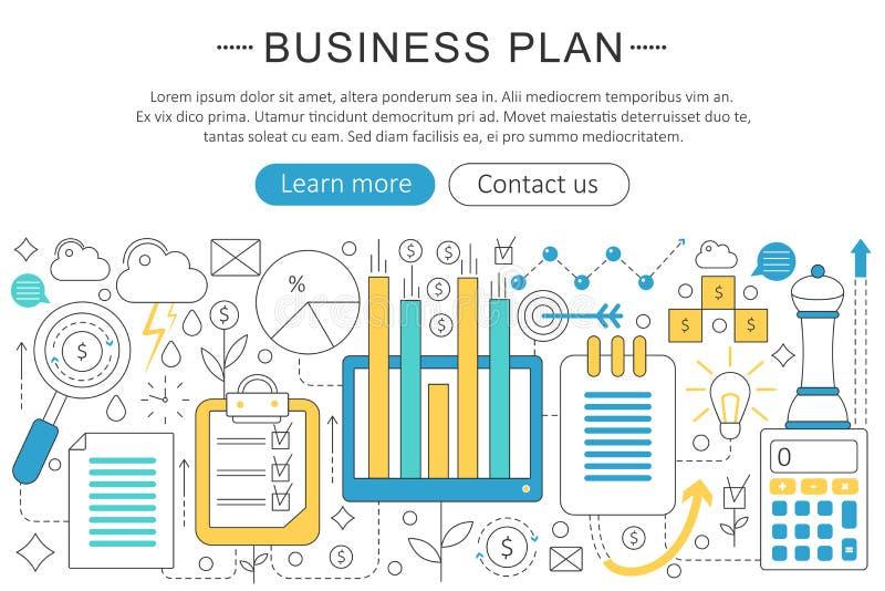 Línea fina elegante concepto plano del vector del plan de las finanzas del negocio del diseño del arte moderno libre illustration