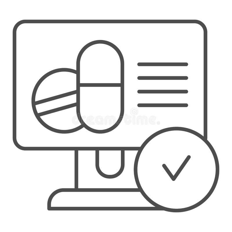 Línea fina en línea icono de la receta de las píldoras Ejemplo del vector de la receta de las drogas aislado en blanco Receta méd ilustración del vector