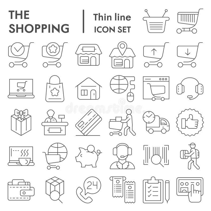 Línea fina en línea que hace compras sistema del icono, símbolos colección, bosquejos del vector, ejemplos de la tienda de Intern stock de ilustración