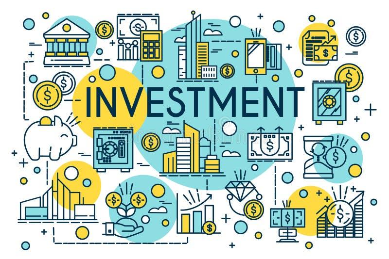Línea fina estilo del concepto de la inversión Negocio, gestión, planificación financiera, finanzas, actividades bancarias Propie libre illustration