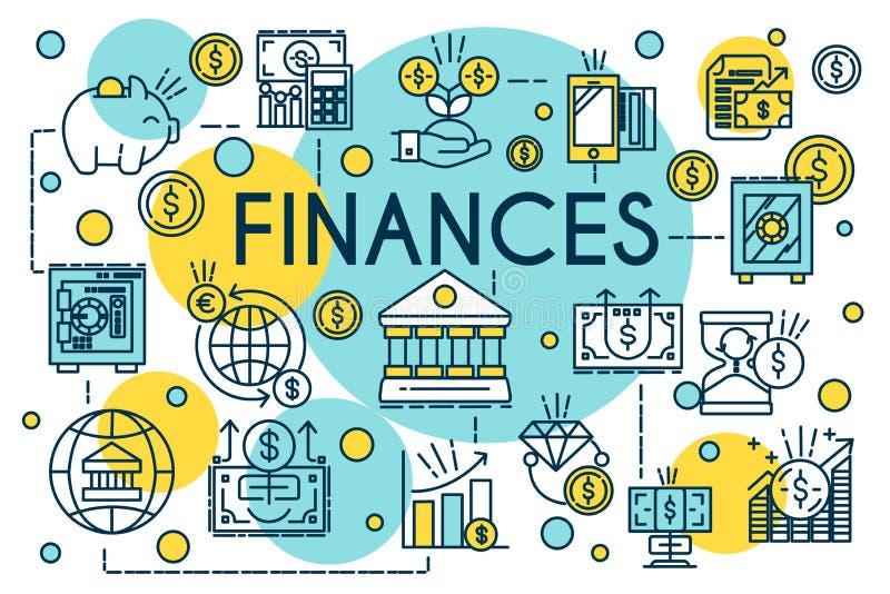 Línea fina estilo del concepto de las finanzas Negocio, gestión, planificación financiera, finanzas, actividades bancarias y cont stock de ilustración