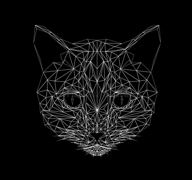 Línea fina estilo del gato del vector Del gato ejemplo polivinílico del diseño bajo Animal abstracto del mamífero Silueta poligon fotos de archivo