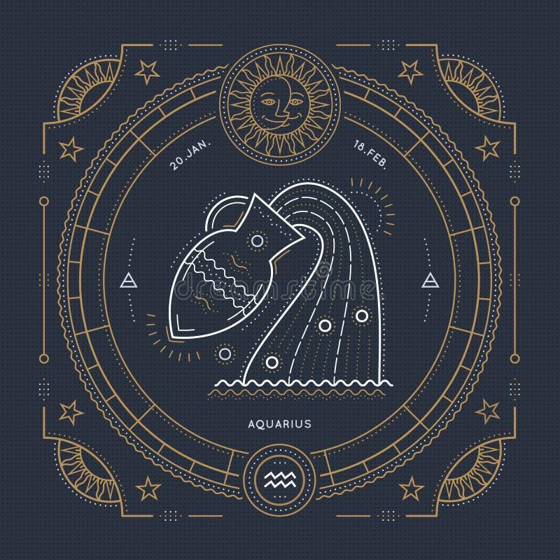 Línea fina etiqueta del vintage de la muestra del zodiaco del acuario Símbolo astrológico del vector retro, místico, elemento sag ilustración del vector