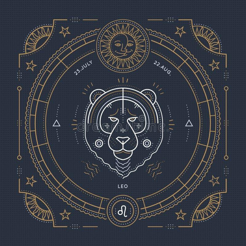Línea fina etiqueta del vintage de la muestra del zodiaco de Leo Símbolo astrológico del vector retro stock de ilustración