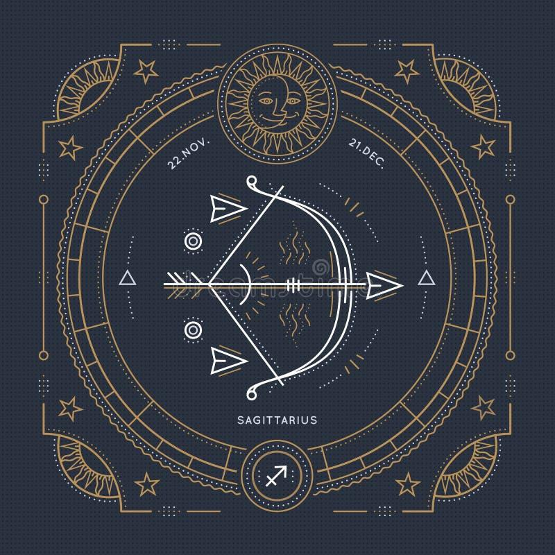 Línea fina etiqueta del vintage de la muestra del zodiaco del sagitario Símbolo astrológico del vector retro ilustración del vector