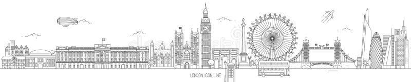 Línea fina horizonte de Londres del vector ilustración del vector