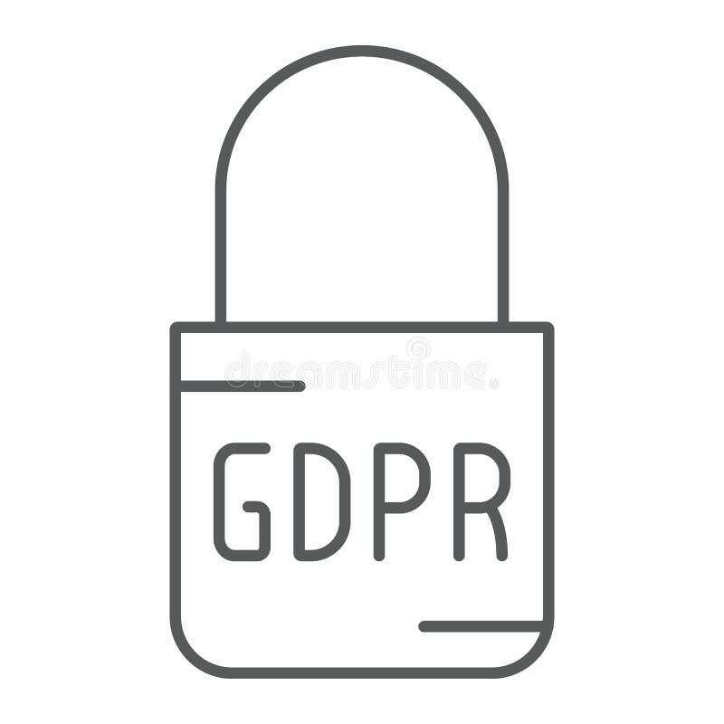 Línea fina icono, acceso y seguro de la cerradura de Gdpr, muestra del candado, gráficos de vector, un modelo linear en un fond stock de ilustración