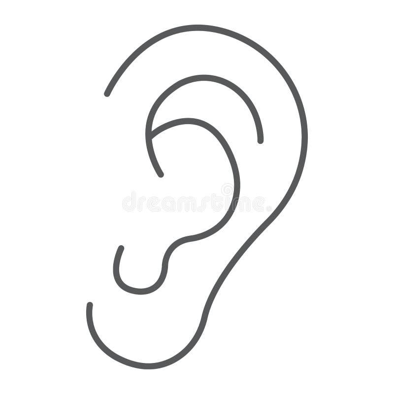 Línea fina icono, anatomía y biología del oído humano stock de ilustración