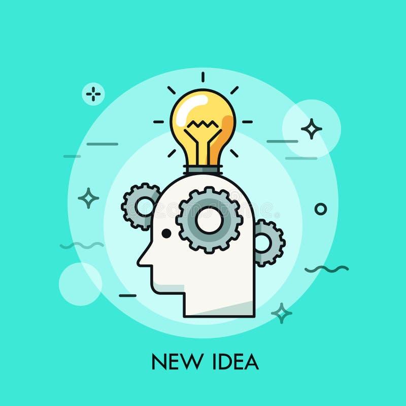 Línea fina icono con el elemento plano del diseño de la idea brillante en cabeza humana stock de ilustración