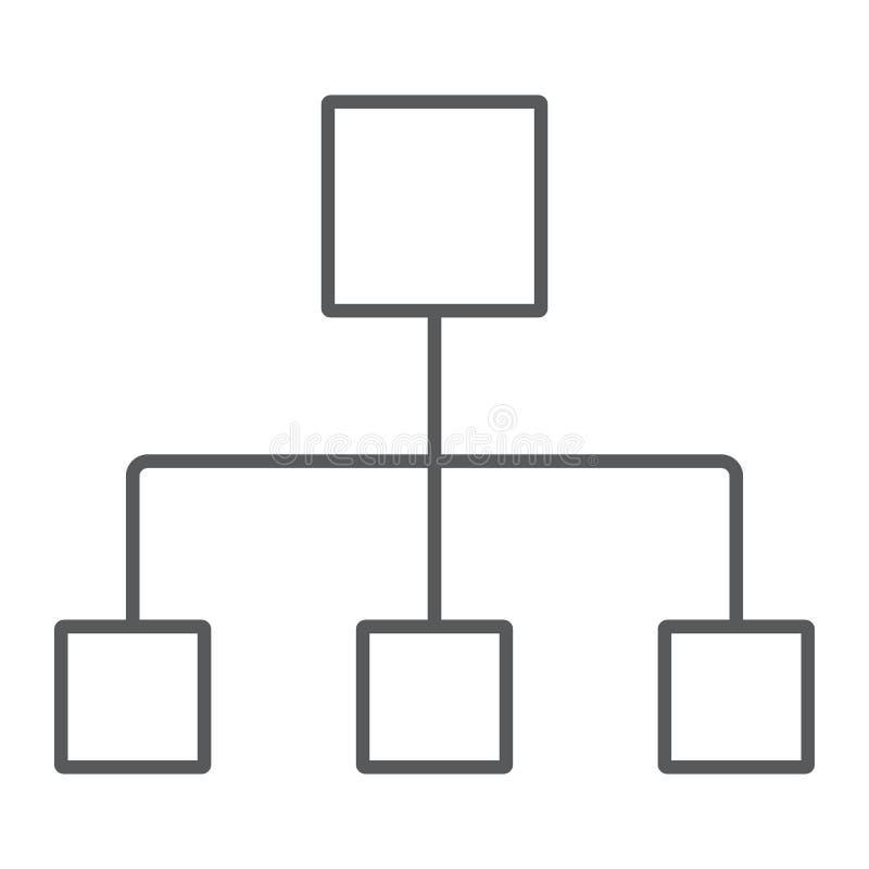 Línea fina icono, datos y analytics del organigrama libre illustration
