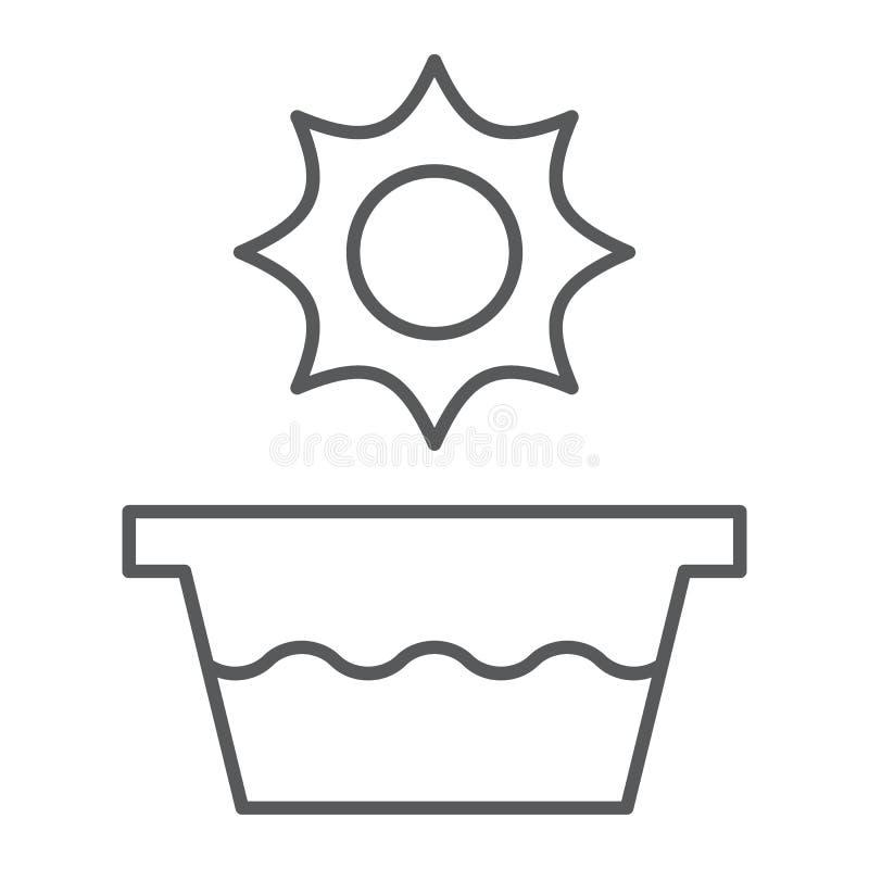 Línea fina icono de la agua caliente, temperatura y lavado, muestra del lavabo, gráficos de vector, un modelo linear en un fondo  ilustración del vector