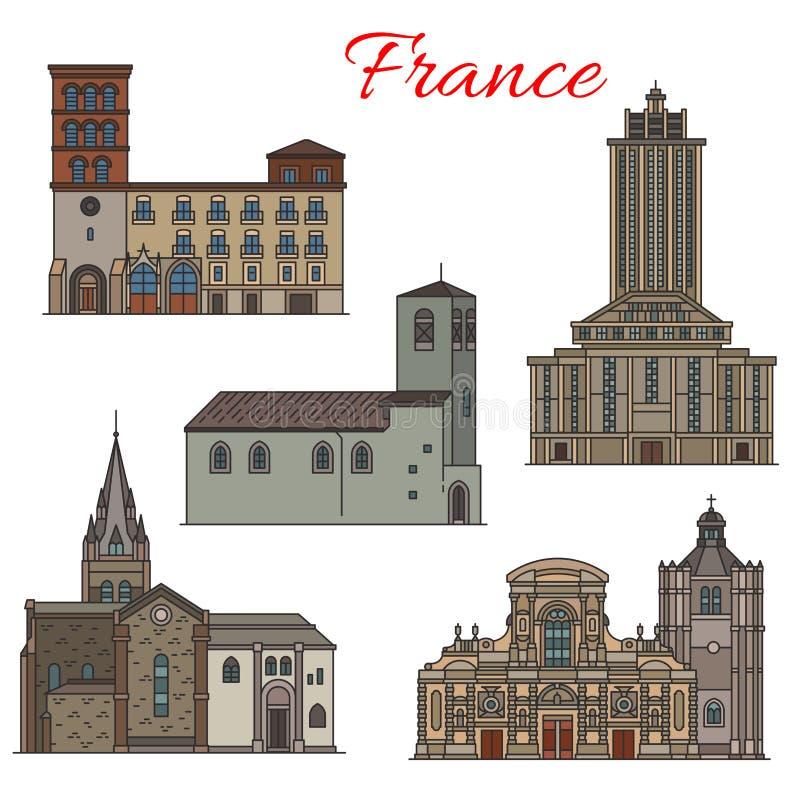 Línea fina icono de la arquitectura de la señal francesa del viaje stock de ilustración