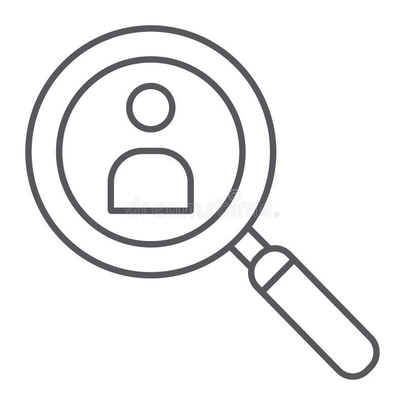 Línea fina icono de la búsqueda de la persona, reclutamiento y lupa, lente con la muestra humana, gráficos de vector, un model libre illustration