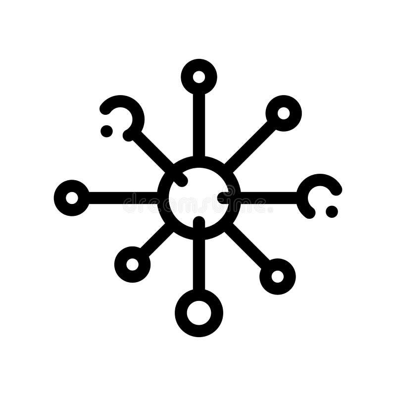 Línea fina icono de la bacteria del vector microscópico del germen ilustración del vector
