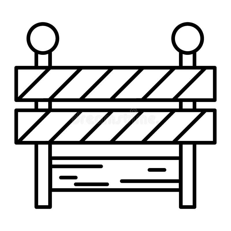 Línea fina icono de la barricada Ejemplo del vector de la barrera aislado en blanco Diseño del estilo del esquema del límite, dis stock de ilustración