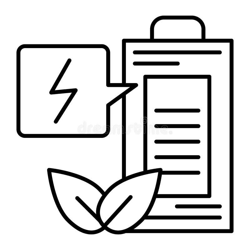 Línea fina icono de la batería de Eco Ejemplo del vector de la carga de la ecología aislado en blanco Estilo del esquema del acum stock de ilustración