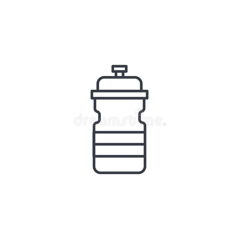Línea fina icono de la botella de agua del deporte Símbolo linear del vector libre illustration
