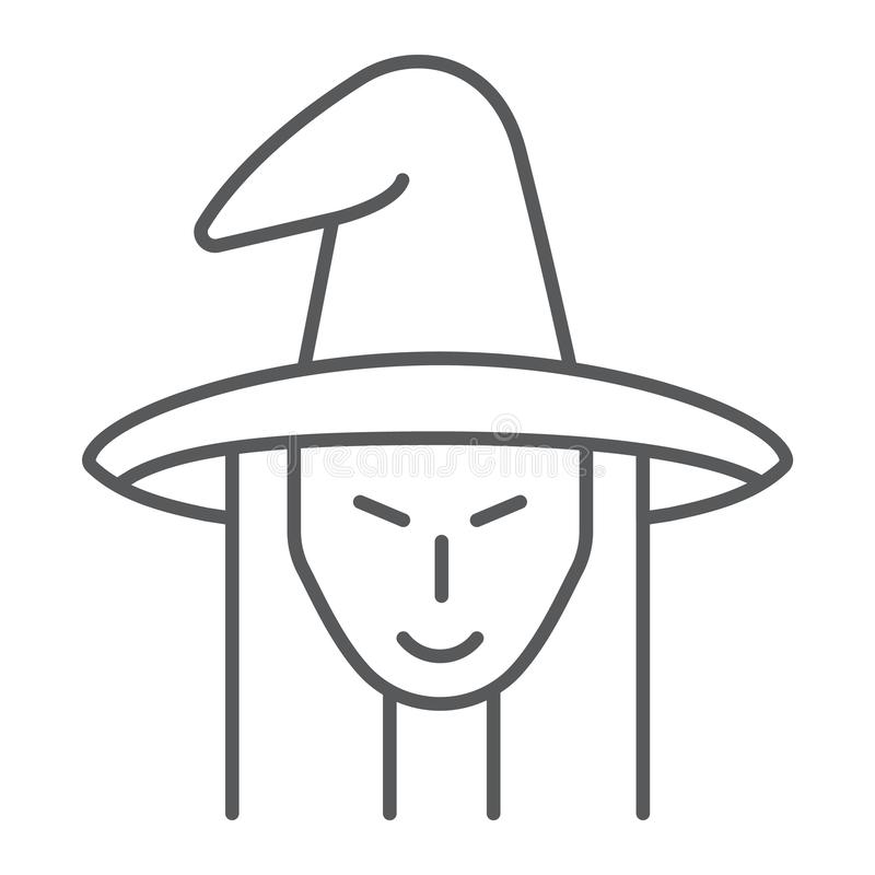 Línea fina icono de la bruja, brujería y Halloween, muestra de la cara de la bruja, gráficos de vector, un modelo linear en un fo libre illustration