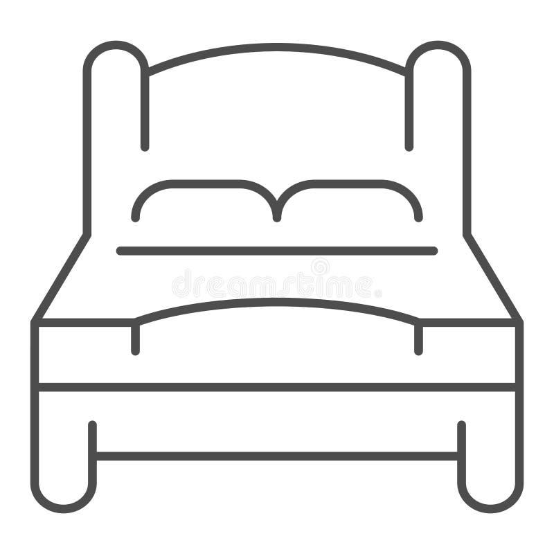 Línea fina icono de la cama Ejemplo del vector de la cama matrimonial aislado en blanco Diseño del estilo del esquema del sitio d stock de ilustración