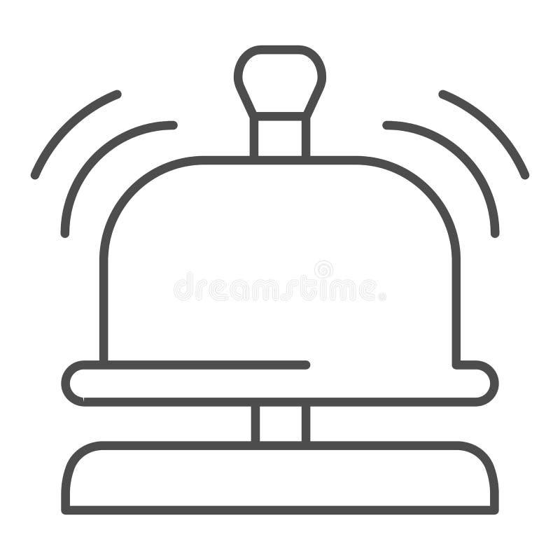 Línea fina icono de la campana de la recepción Ejemplo del vector de la campana del hotel aislado en blanco Diseño alerta sano de stock de ilustración