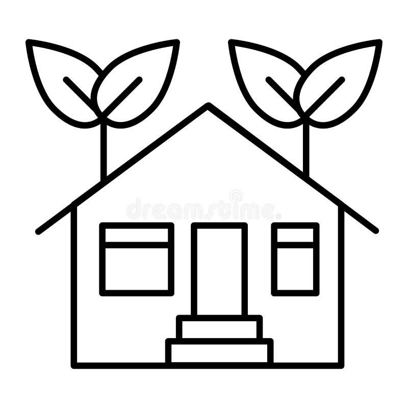 Línea fina icono de la casa de la ecología Ejemplo del vector de la casa de Eco aislado en blanco Hogar con diseño del estilo del ilustración del vector