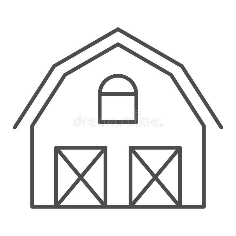 Línea fina icono de la casa de la granja Ejemplo del vector de Warehouse aislado en blanco Diseño del estilo del esquema del gran stock de ilustración