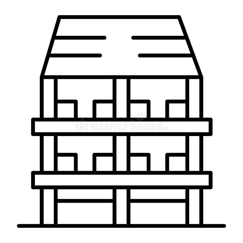 Línea fina icono de la casa de tres pisos Ejemplo exterior del vector aislado en blanco Diseño del estilo del esquema de la arqui ilustración del vector