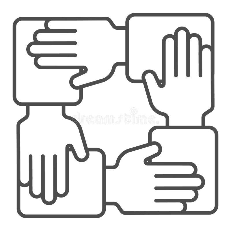 Línea fina icono de la colaboración Ejemplo del vector de la comunidad de las manos aislado en blanco Dise?o del estilo del esque libre illustration