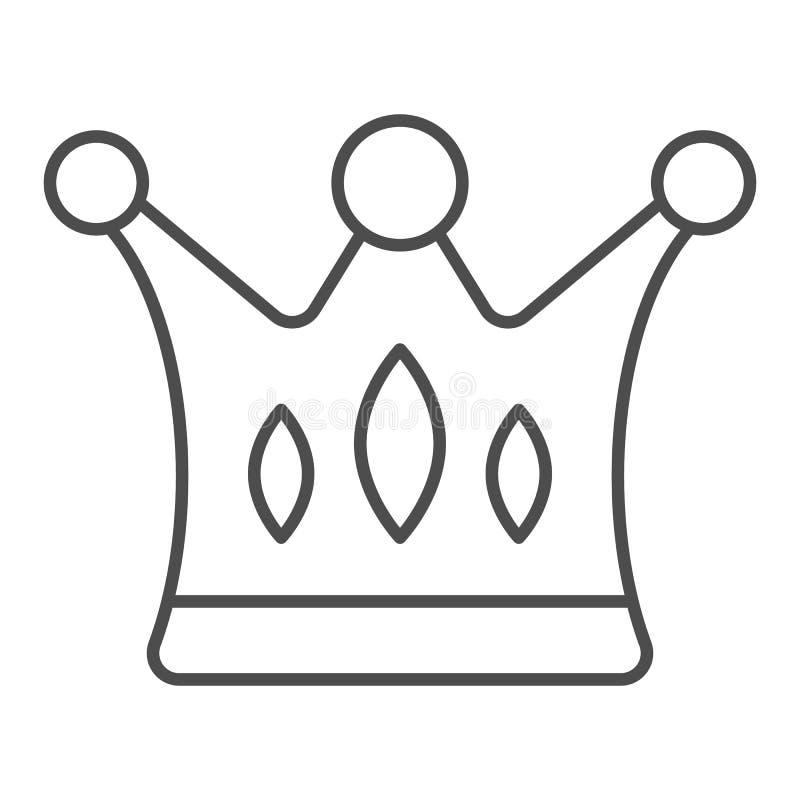 Línea fina icono de la corona Ejemplo majestuoso del vector aislado en blanco Diseño del estilo del esquema de los derechos, dise libre illustration