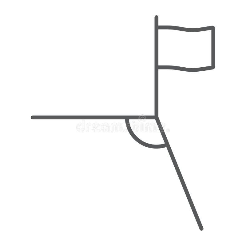 Línea fina icono de la esquina del fútbol, deporte y campo, muestra de la esquina del fútbol, gráficos de vector, un modelo linea libre illustration