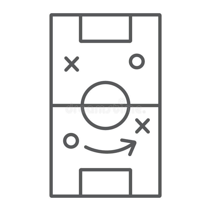 Línea fina icono de la estrategia del fútbol, juego y campo, muestra de la táctica del fútbol, gráficos de vector, un modelo line ilustración del vector