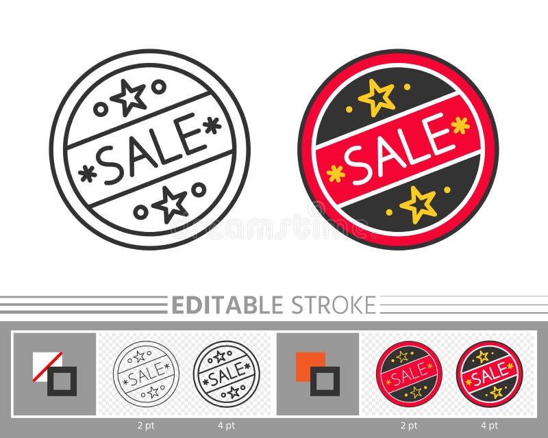 Línea fina icono de la etiqueta engomada del movimiento editable redondo de la venta libre illustration