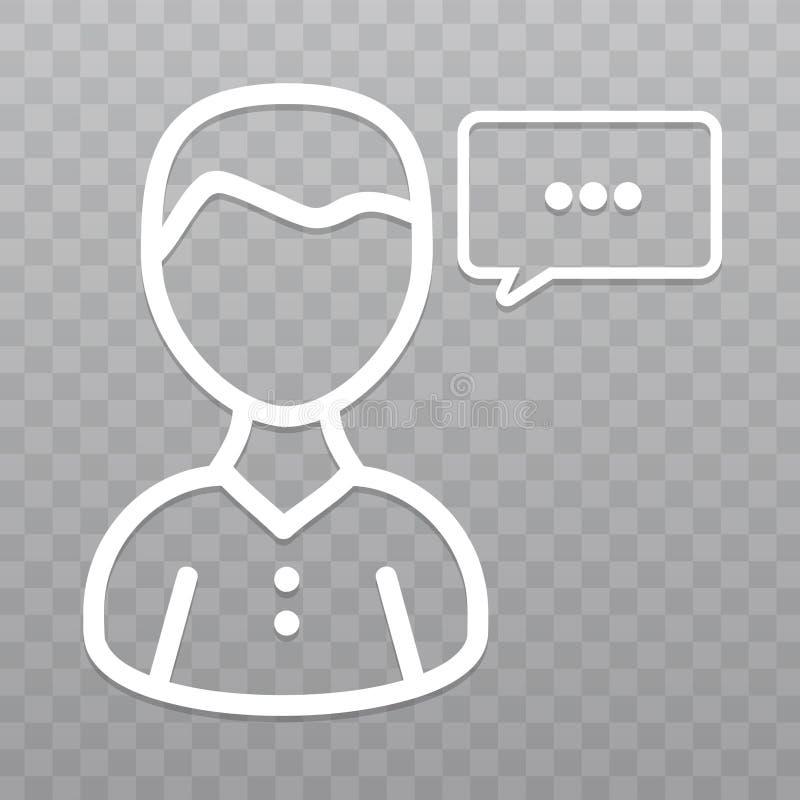 Línea fina icono de la gente de la charla Burbuja del discurso en fondo transparente stock de ilustración