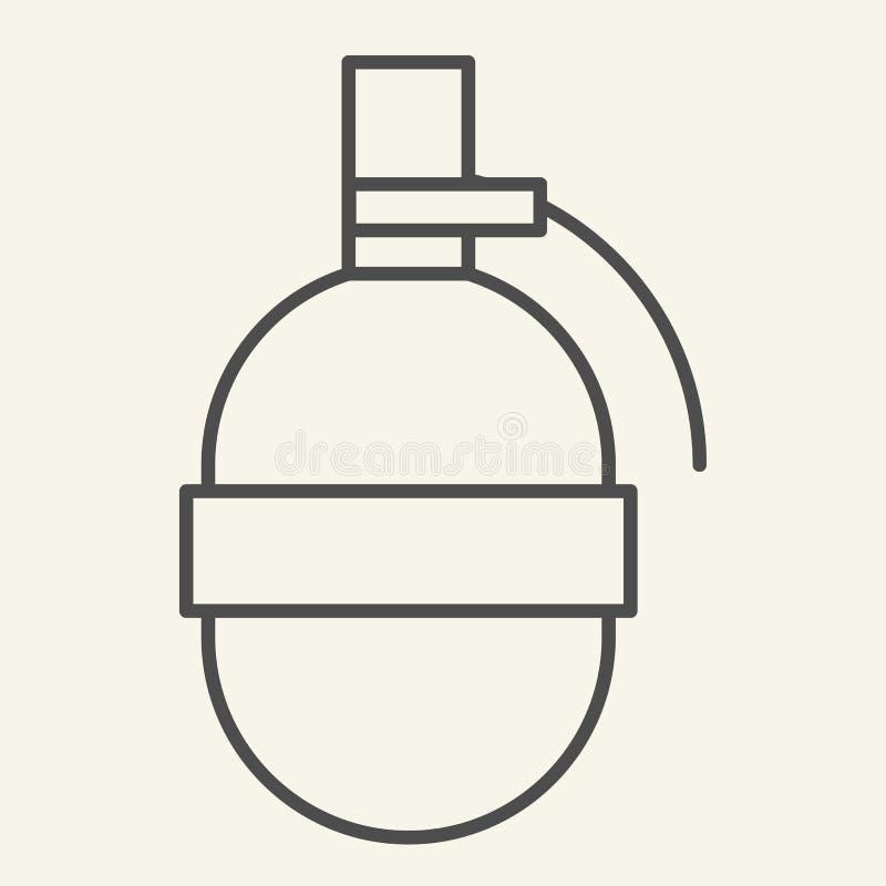 Línea fina icono de la granada Estalle el ejemplo del vector aislado en blanco Diseño del estilo del esquema de la bomba, diseñad libre illustration