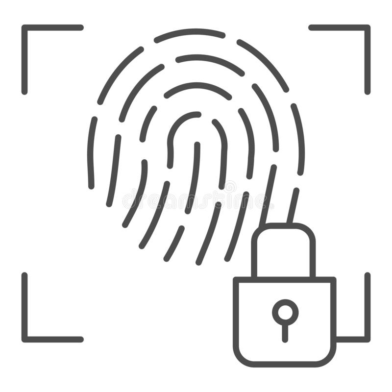 Línea fina icono de la huella dactilar y de la cerradura La identificación de la huella dactilar cerró el ejemplo del vector aisl libre illustration