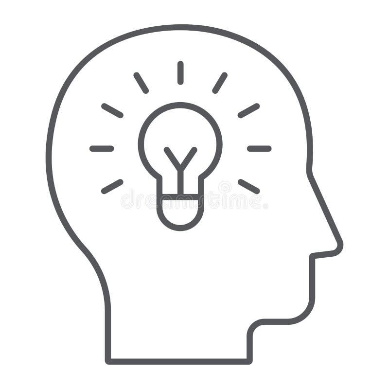 Línea fina icono de la idea humana, creatividad y solución, bombilla en la muestra principal, gráficos de vector, un modelo linea stock de ilustración