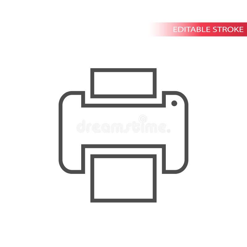 Línea fina icono de la impresión del web Icono de impresora Icono del botón de impresión ilustración del vector