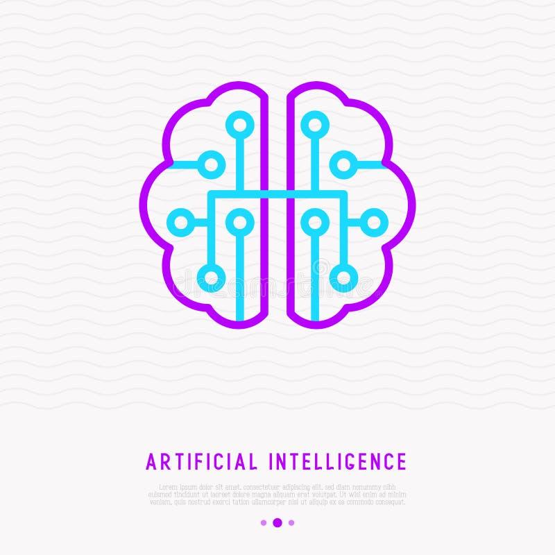 Línea fina icono de la inteligencia artificial ilustración del vector