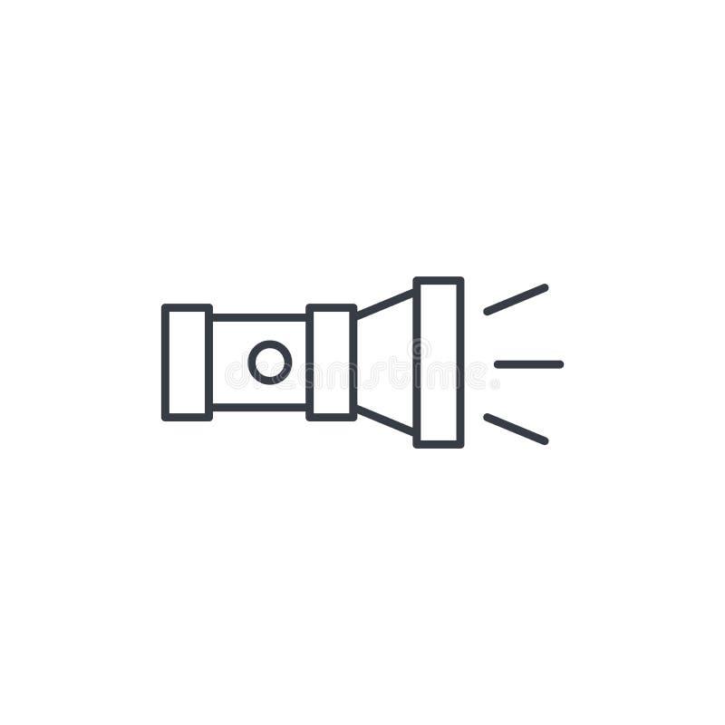 Línea fina icono de la linterna Símbolo linear del vector ilustración del vector