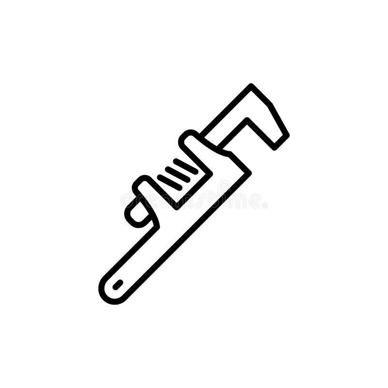 Línea fina icono de la llave ajustable libre illustration