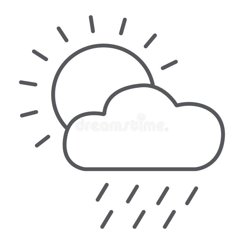 Línea fina icono de la lluvia, día y cielo, muestra del tiempo, gráficos de vector, un modelo linear en un fondo blanco ilustración del vector