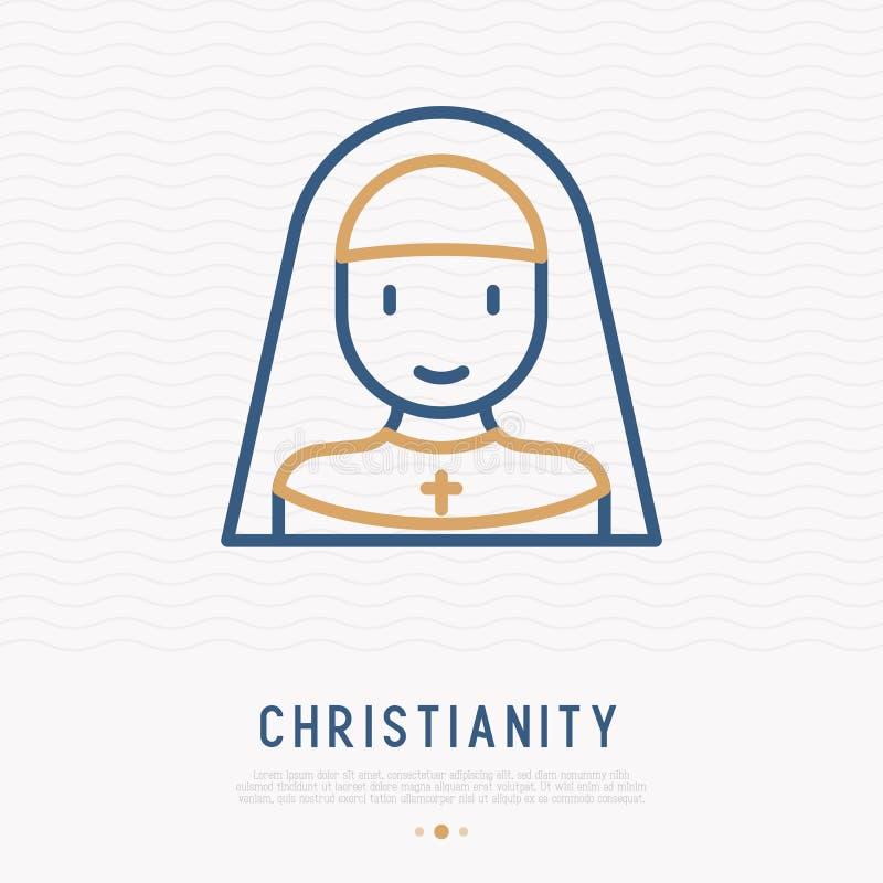 Línea fina icono de la monja Ilustración moderna del vector libre illustration