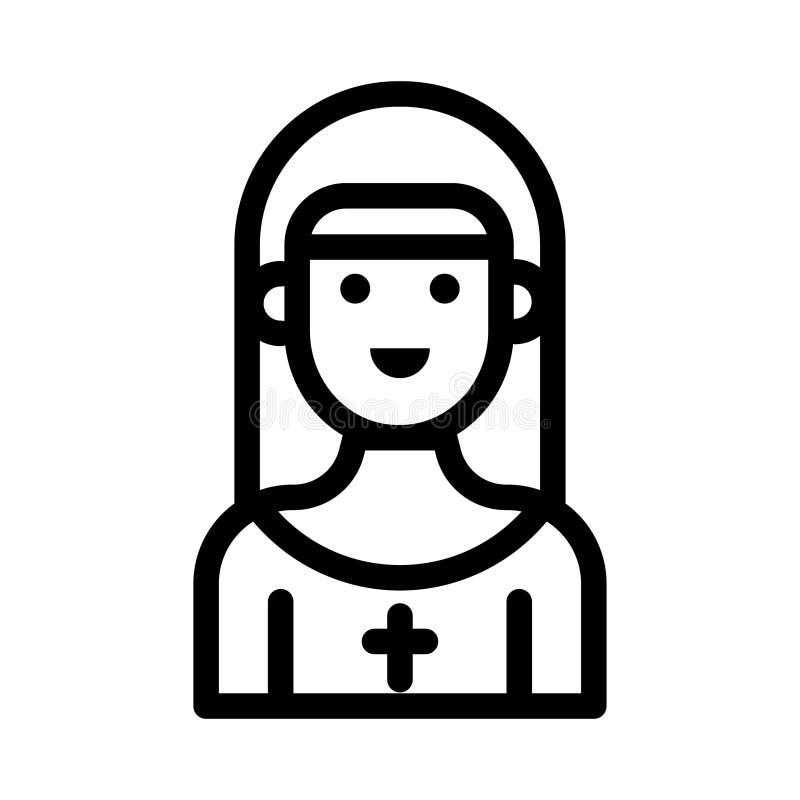 Línea fina icono de la muchacha del vector stock de ilustración