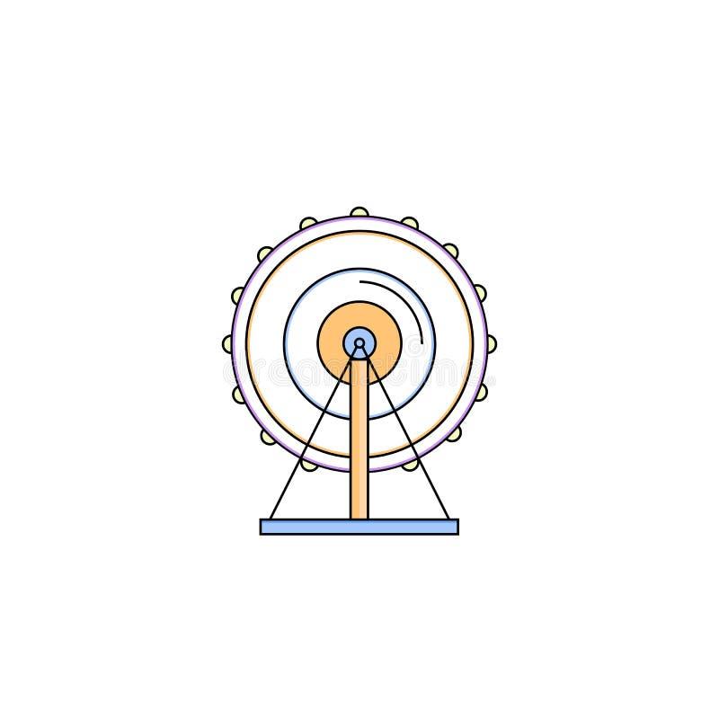 Línea fina icono de la noria ilustración del vector