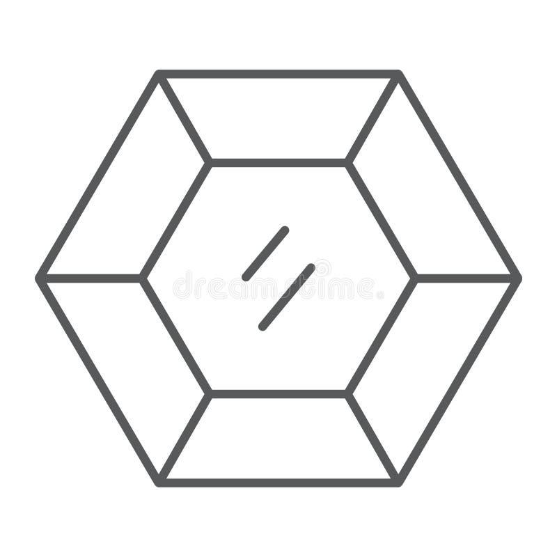 Línea fina icono de la piedra preciosa preciosa, joyería y diamante, muestra brillante, gráficos de vector, un modelo linear en u libre illustration