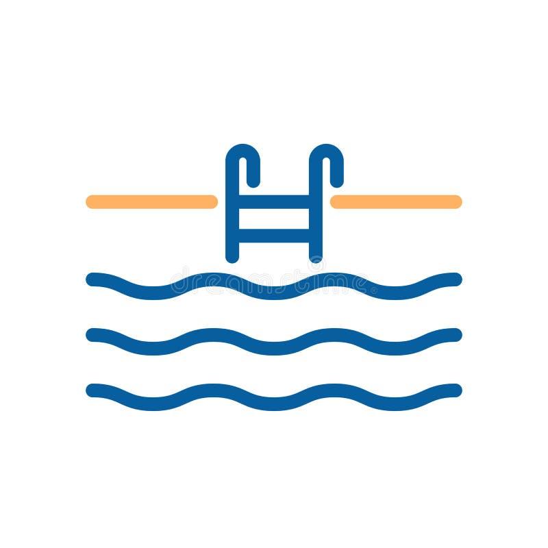 Línea fina icono de la piscina con la escalera y agua de las escaleras libre illustration