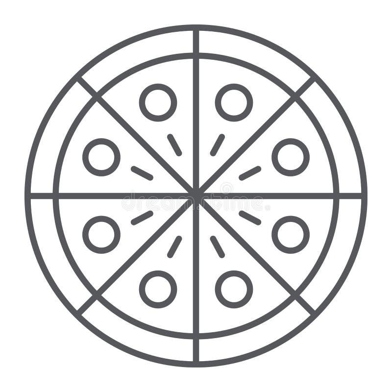 Línea fina icono de la pizza, partido y comida, muestra de los alimentos de preparación rápida, gráficos de vector, un modelo lin ilustración del vector