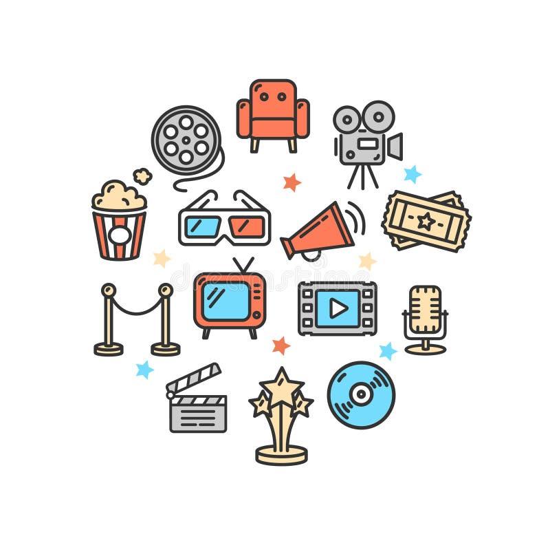 Línea fina icono de la plantilla redonda del diseño del cine Vector ilustración del vector