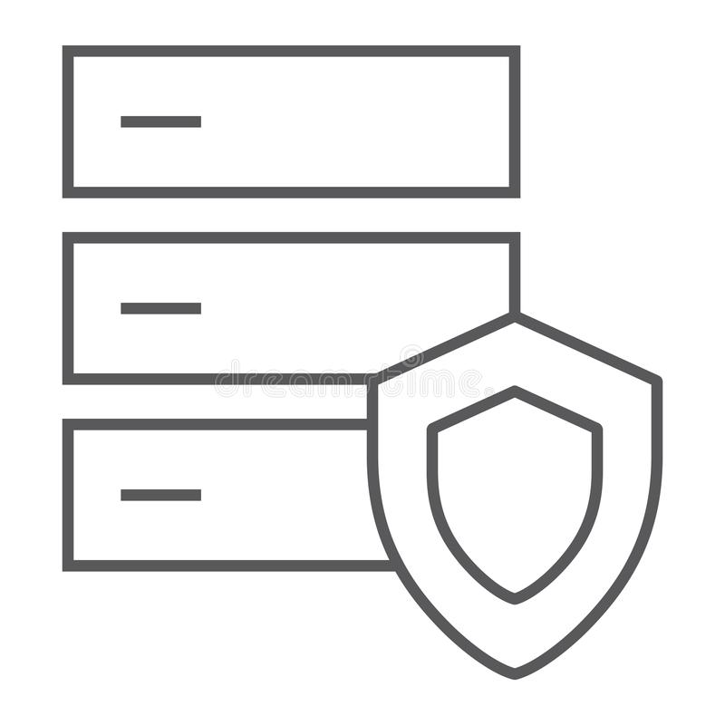 Línea fina icono de la protección de la base de datos, servidor y seguridad, muestra del sistema, gráficos de vector, un modelo l stock de ilustración