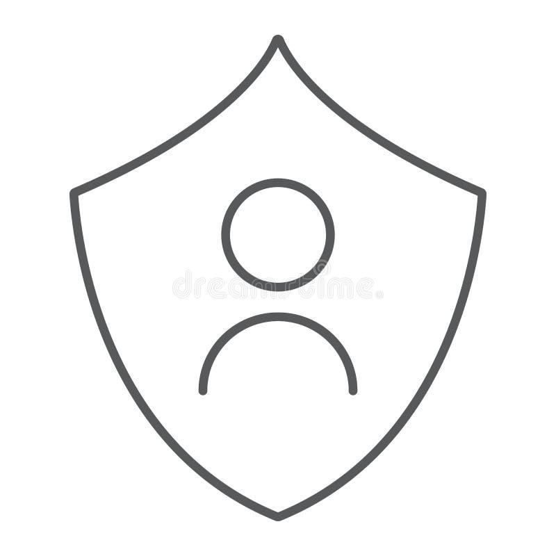 Línea fina icono de la protección personal, aislamiento y seguridad, muestra de la protección de datos, gráficos de vector, u stock de ilustración